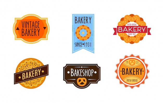 Collection de logo de boulangerie rétro vintage