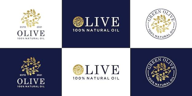 Collection de logo de branche d'olivier