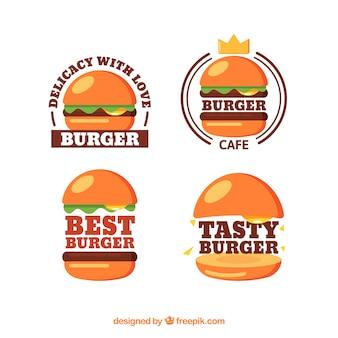 Collection de logo de burger brillant