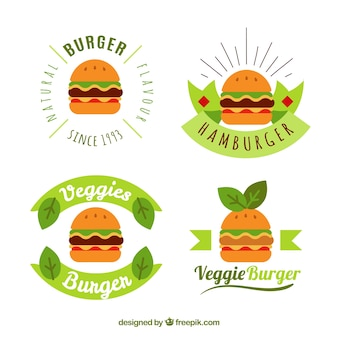 Collection de logo burger avec design vert