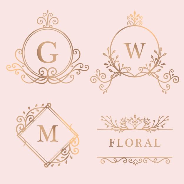 Collection de logo avec cadre doré