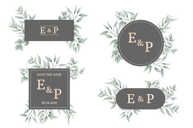 Collection de logo de cadre d'invitation de mariage floral aquarelle