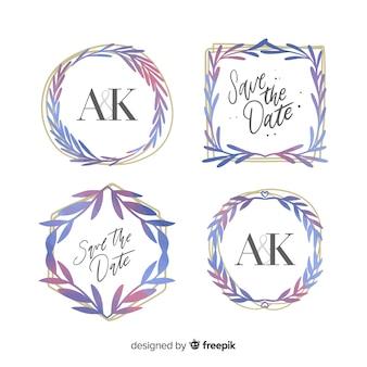 Collection de logo de cadre de mariage aquarelle