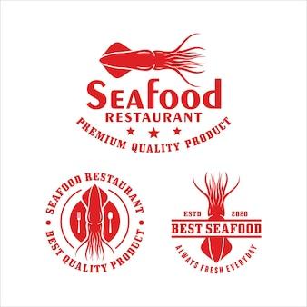 Collection de logo de calmar de restaurant de fruits de mer