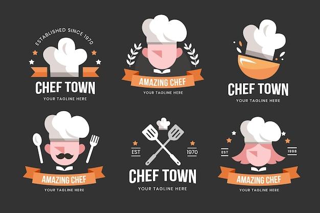 Collection de logo de chef design plat