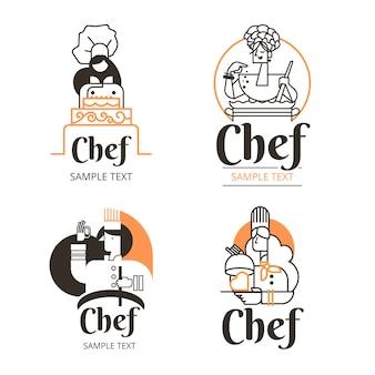 Collection de logo de chef féminin plat linéaire