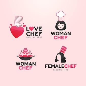 Collection de logo de chef féminin plat