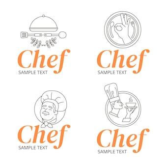 Collection de logo de chef plat linéaire