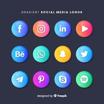 Collection de logo coloré sur les médias sociaux