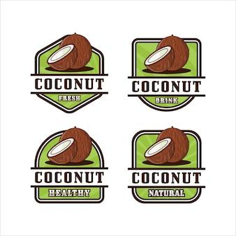 Collection de logo de conception d'insigne de noix de coco