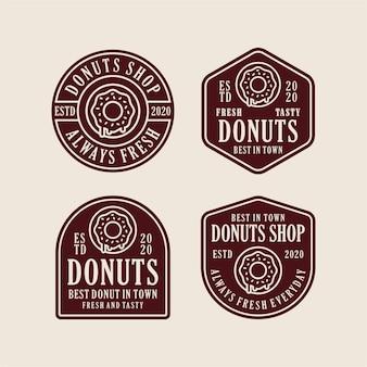 Collection de logo de conception de magasin de beignets