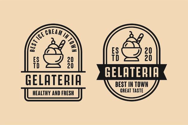 Collection de logo de crème glacée gelateria