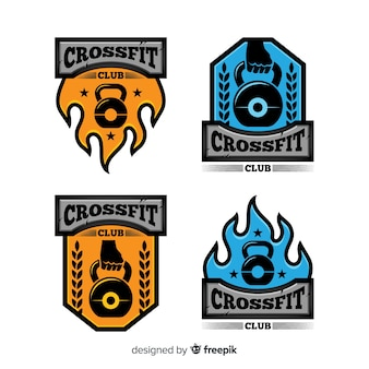 Collection de logo crossfit design plat