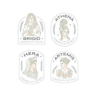 Collection de logo de déesse design plat