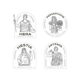 Collection de logo de déesse plate linéaire
