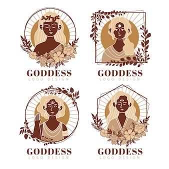 Collection de logo de déesse plate