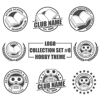Collection de logo définie avec thème de passe-temps