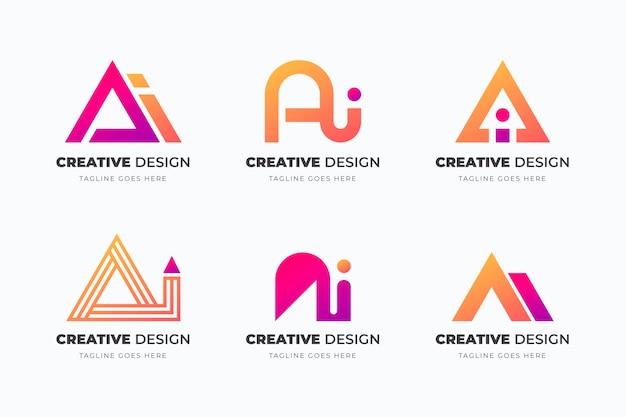 Collection de logo dégradé ai