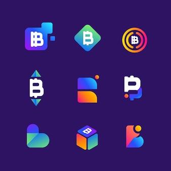 Collection de logo dégradé bitcoin