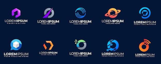 Collection de logo dégradé lettre o