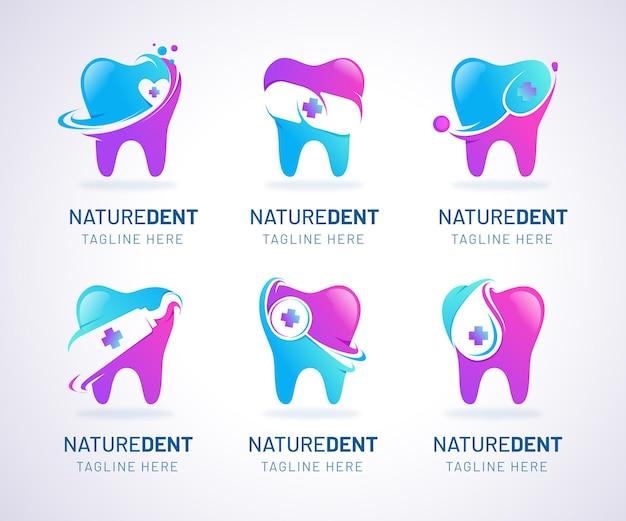 Collection de logo dentaire dégradé