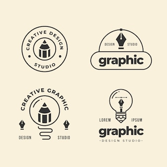 Collection de logo design graphique plat moderne