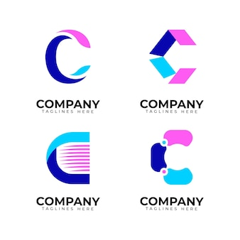 Collection de logo design plat c