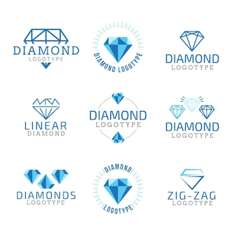 Collection de logo de diamant linéaire