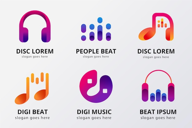 Collection de logo dj dégradé de couleur