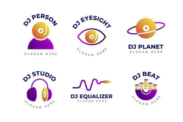 Collection De Logo Dj Dégradé Vecteur gratuit