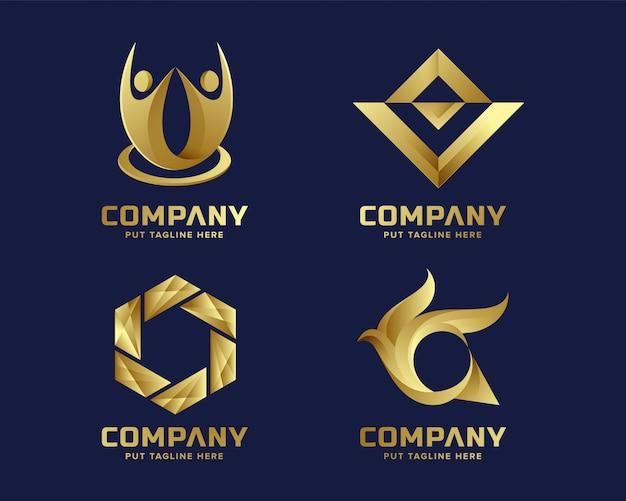 Collection de logo doré abstrait affaires pour entreprise