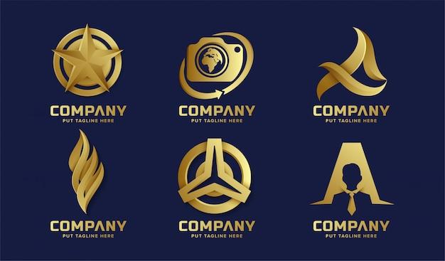 Collection de logo doré abstrait affaires