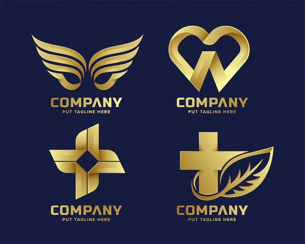 Collection de logo doré abstrait premium business