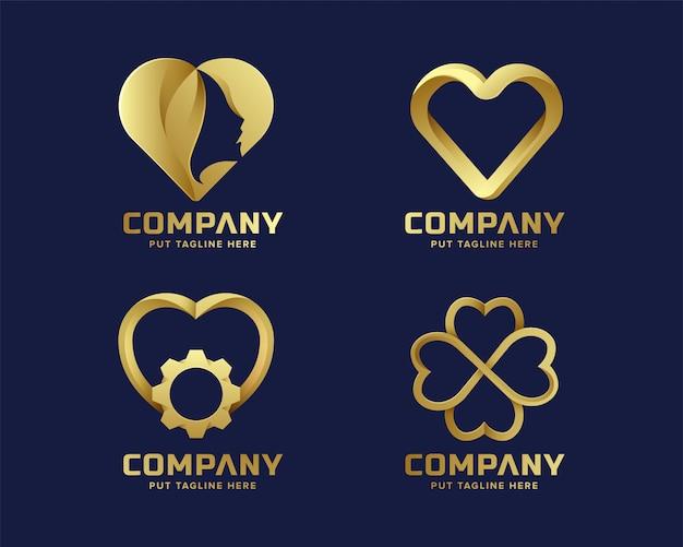 Collection de logo doré coeur amour pour entreprise