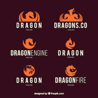 Collection de logo dragon avec un design plat