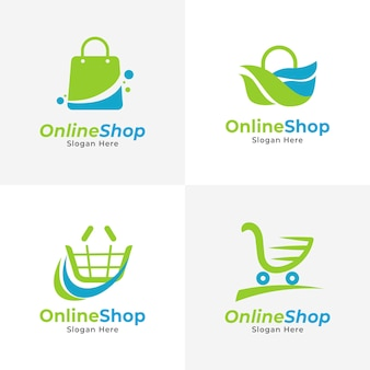 Collection de logo e-commerce plat