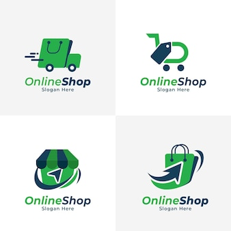 Collection de logo e-commerce plat
