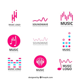 Collection de logo equalizer avec un design plat