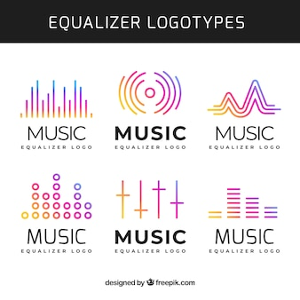 Collection de logo equalizer avec style dégradé