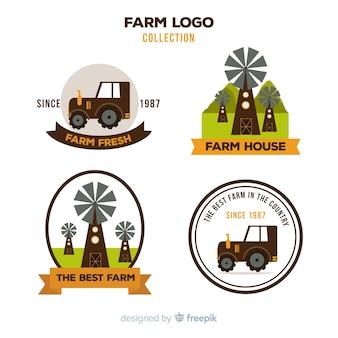 Collection de logo ferme brun plat
