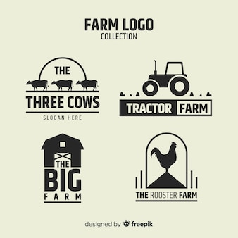 Collection de logo ferme noir mat