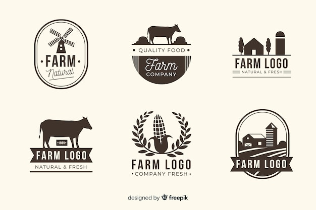 Collection de logo ferme noir mat