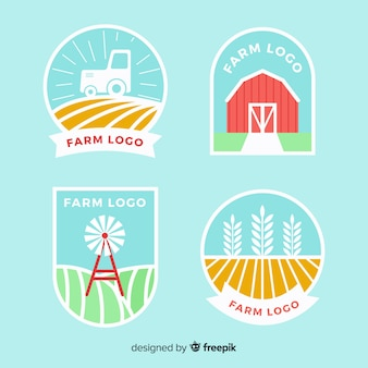 Collection de logo ferme plate