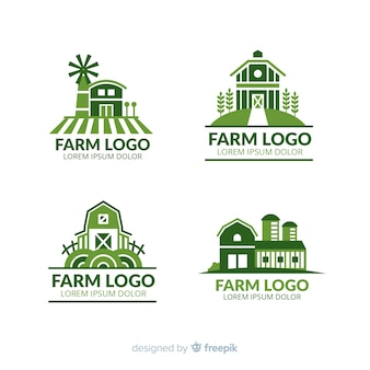 Collection de logo ferme plate