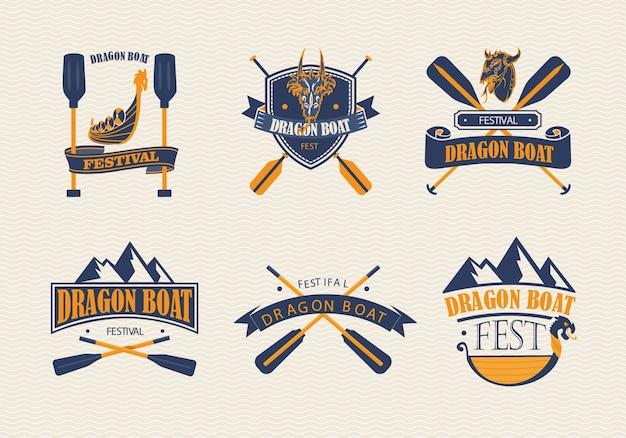 Collection de logo de festival de bateau de dragon