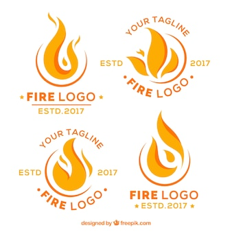 Collection de logo feu design plat