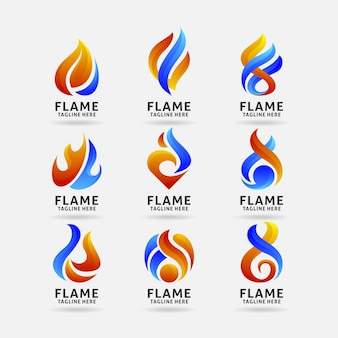 Collection de logo flamme de feu