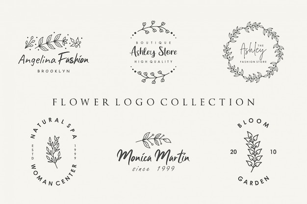 Collection de logo de fleurs avec un style minimaliste