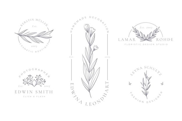 Collection de logo floral minimaliste