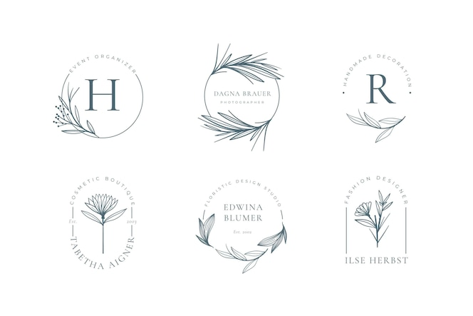 Collection de logo floral minimaliste